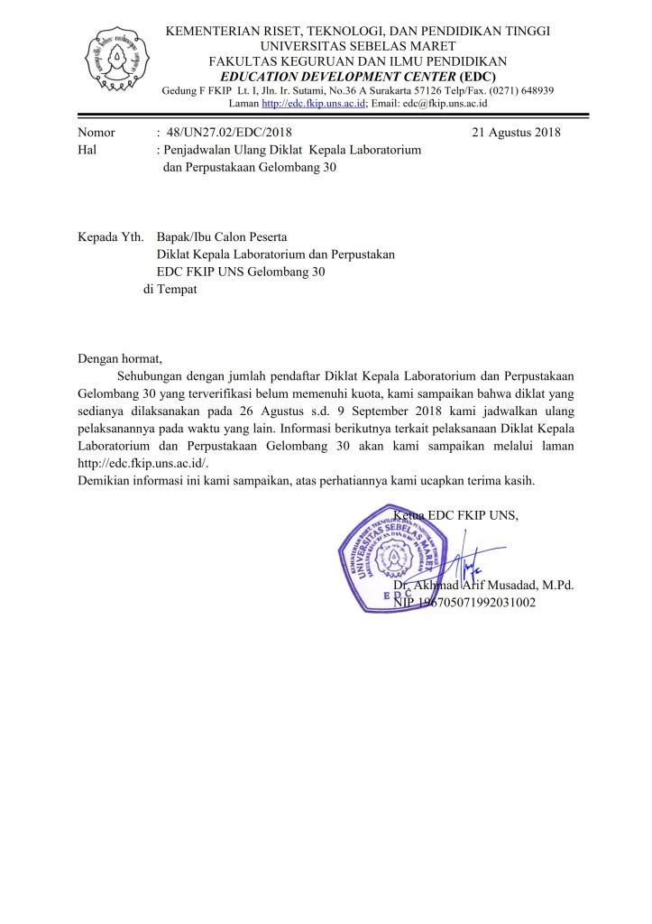 Surat Penjadwalan Ulang Diklat Gelombang 30_001